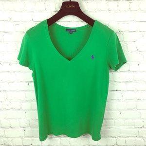 Ralph Lauren Women's Xl Polo Tee Green V Neck